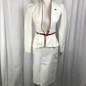 VINTAGE White Skirt Suit Set